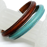 Pair of Leather bracelets for stacking. Turquoise and Luggage brown. Silver stitch clasp