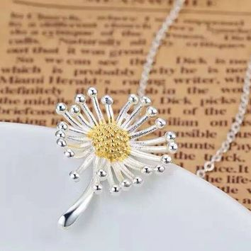 Fashion dandelion 925 Sterling Silver necklace, a perfect gift
