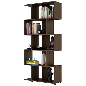 Modern Zig-Zag Bookcase with 5-Shelves in Dark Brown Finish