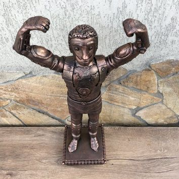 Steampunk body builder, steampunk figurine, steampunk statuette, recycled art, recycled gifts, steampunk statue, industrial gifts,viking axe