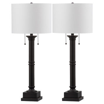 Estilo Column Table Lamp Set, Black, Table Lamps