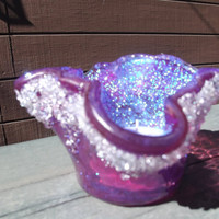 Dichroic Fused Glass Votive Candle Holder Purple Fushia Blue 045
