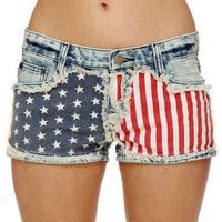 Gypsy Junkies Liberty Cutoffs - Flag Print Shorts - Denim Shorts - $78.00