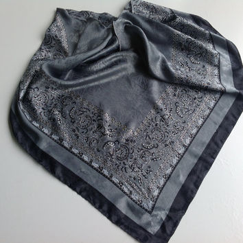Dark Gray Paisley Scarf Grey Satin scarf, Hair coverup, Scarf headband, Best Friend gift  Coworker Gift  Holiday Gift  Black White Scarf