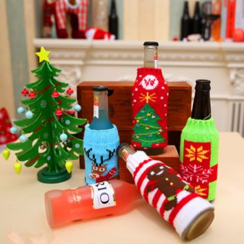 Christmas Home Supplies Cartoon Knit Beer Bottle Cover Decorations
