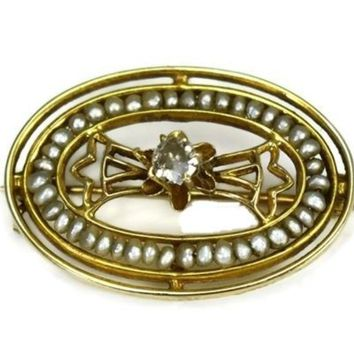 Antique Edwardian 10k Diamond Brooch with Strung Seed Pearls
