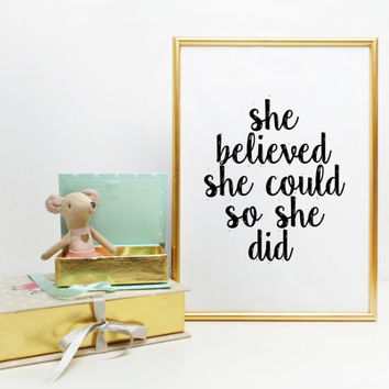 She believed she could so she did quote print typography poster inspirational wall art Motivational Typography Print Nursery Print