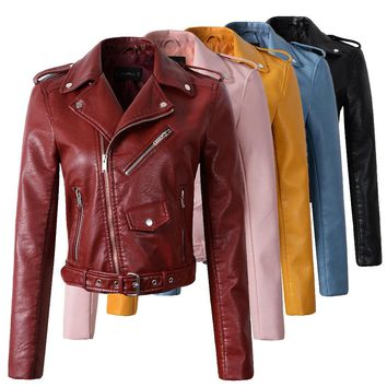 2017 New Fashion Women Wine Red Faux Leather Jackets Lady Bomber Motorcycle Cool Outerwear Coat with Belt Hot Sale