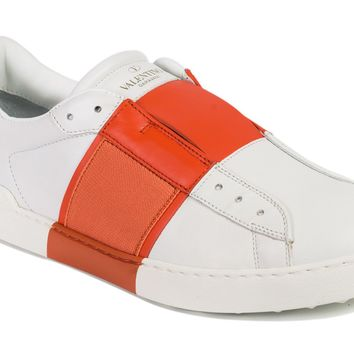 Valentino Garavani Mens White Open Orange Band Sneakers