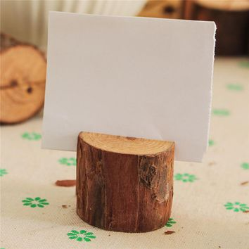 Modern 10PC Retro Wooden Base Rustic Wedding Table Number Place Name Memo Card Stand Holder Message Clip Holder Miniature Craft