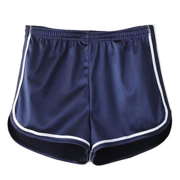 Navy Holographic Contrast Trims Elastic Waist Shorts