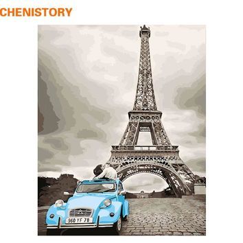CHENISTORY Frameless Paris Lovers DIY Painting By Numbers Modern Wall Art Picture Hand Painted Oil Painting For Home Decor 40x50