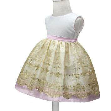 Free shipping 6M-24M Infant Party Dresses 2017 New Dress For 1 year Baby Girl Birthday Organza Embroidery Gold Toddler Gowns