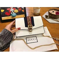 GUCCI High Quality Fashionable Women Leather Shoulder Bag Crossbody Satchel White