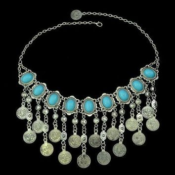 Gypsy Bohemian Beachy Chic Statement Tassels Necklace Silver Fringe Bib Coin Ethnic Turkish