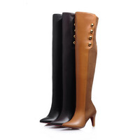 Brand New Winter Sexy Black Brown Apricot Women Over the Knee Thigh High Boots Ladies Shoes Heel A1-12B Plus Big Size 32 45 11