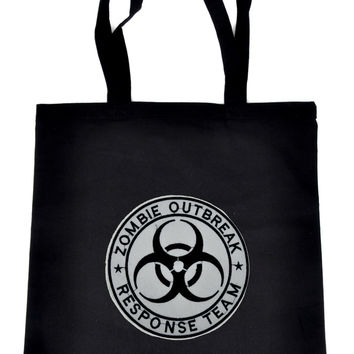 Zombie Outbreak Response Team on Black Tote Book Bag Walking Dead Handbag