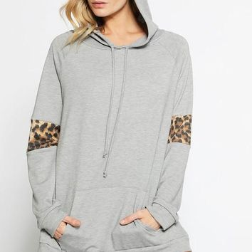 French Terry Hoodie with Leopard Print - Heather Grey