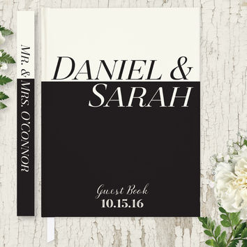 Personalized Wedding Guest Book, Black & White Guest Book, Hardcover Guest Book GB108