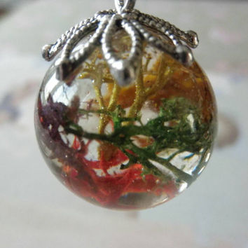 Hand Cast Resin Sphere Orb Pendant Necklace with Reindeer Moss Embedded