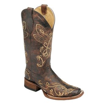 Circle G by Corral New Women's L5079 Dragonfly Embroidery Western Boot