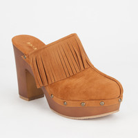 BAMBOO Wilson Fringe Womens Clogs | Heels & Wedges