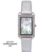 Avon: Metallic Strap Watch with Genuine Mother-of-Pearl Dial