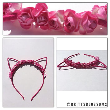 Floral Cat Ears, Cat Ears, Flower Cat Eats, Flower headband, Flower halo, Flower crown