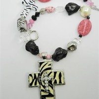 Zebra Cross Pink Turquoise Chunky Necklace