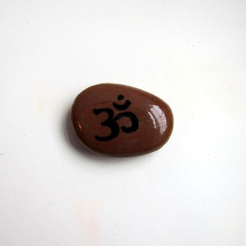 Om Symbol Painted Stones - Garden Rocks Om Art Yoga Decor - Aum Buddhist Symbol Om Decor - Yoga Gifts Flat River Rocks - Yoga Alter