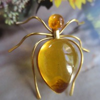 Vintage Russian Amber Spider Pin