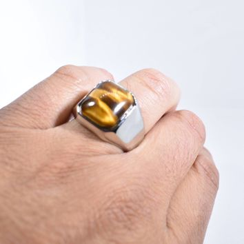 Vintage 1980's Gothic Stainless Steel Genuine Tiger's Eye Ring