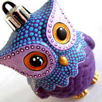 Purple Owl Ornament: Shatter Resistant Hand Painted plastic Owl Ornament.