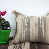 Decorative handmade pillow cover in natural wool colours, kilim handwoven wool pillow cover, boho pillow case