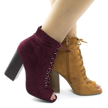 Darlyn07 By Wild Diva, Peep Toe Corset Lace Up Stacked Chunky Heel Ankle Booties