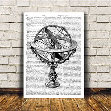 Armillary poster Antique art Wall decor Vintage print RTA83