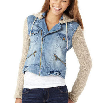 Billabong Denim Jacket With Sweater Mix