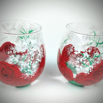 2 Red Rose and Baby's Breath Stemless Wine Glasses, Quality wine glasses, Hand Painted wine glass, rose wine glasses, red wine glass
