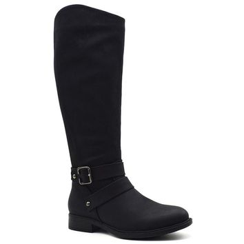 Black Tall Ankle Strap Wide Calf Boots