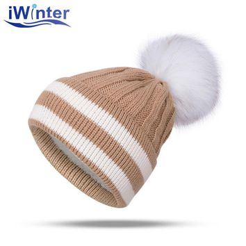 IWINTER 2017 New Fashion Woman's Winter Hat Knitted Skullies Beanies For Ladies Fur Ball Pom Pom Winter Hat Thick Unisex Cap
