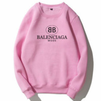Balenciaga Tide brand autumn and winter plus velvet classic double B letter print collar round neck sweater Pink