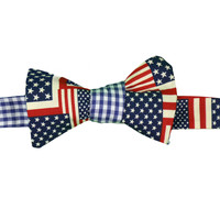 America and Blue Gingham (Bowtie) - Fraternity Collection