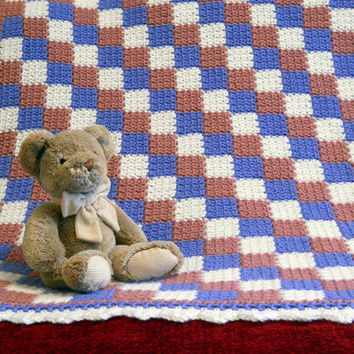 Crochet Baby Blanket, quilt look in pink, blue and white