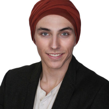 Man's Turban Head Wrap, Tactical Scarf, Rust