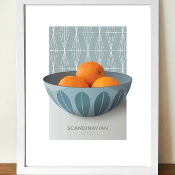 CATHRINEHOLM, mid century, poster print, Enamelware bowl with oranges, (A3) artists giclée print