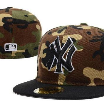 New York Yankees New Era Mlb Authentic Collection 59fifty Cap Camouflage Black