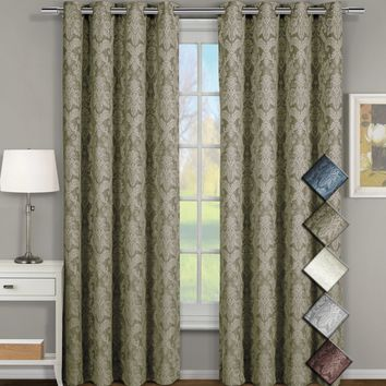Blair Jacquard Grommet Top Curtain Panel Pair (set of 2)