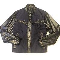 G-Gator Zipper Lambskin & Mesh Leather Jacket
