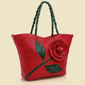 Fashion Women Frame Bag Rose Flower Hasp Vintage Women Handbag Tote PU Leahter Shoulder Bag Handbags Blosa Feminina Travel Bags