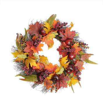 """22"""" Autumn Harvest Apple  Berry and Leaf Artificial Thanksgiving Floral Wreath - Unlit"""
